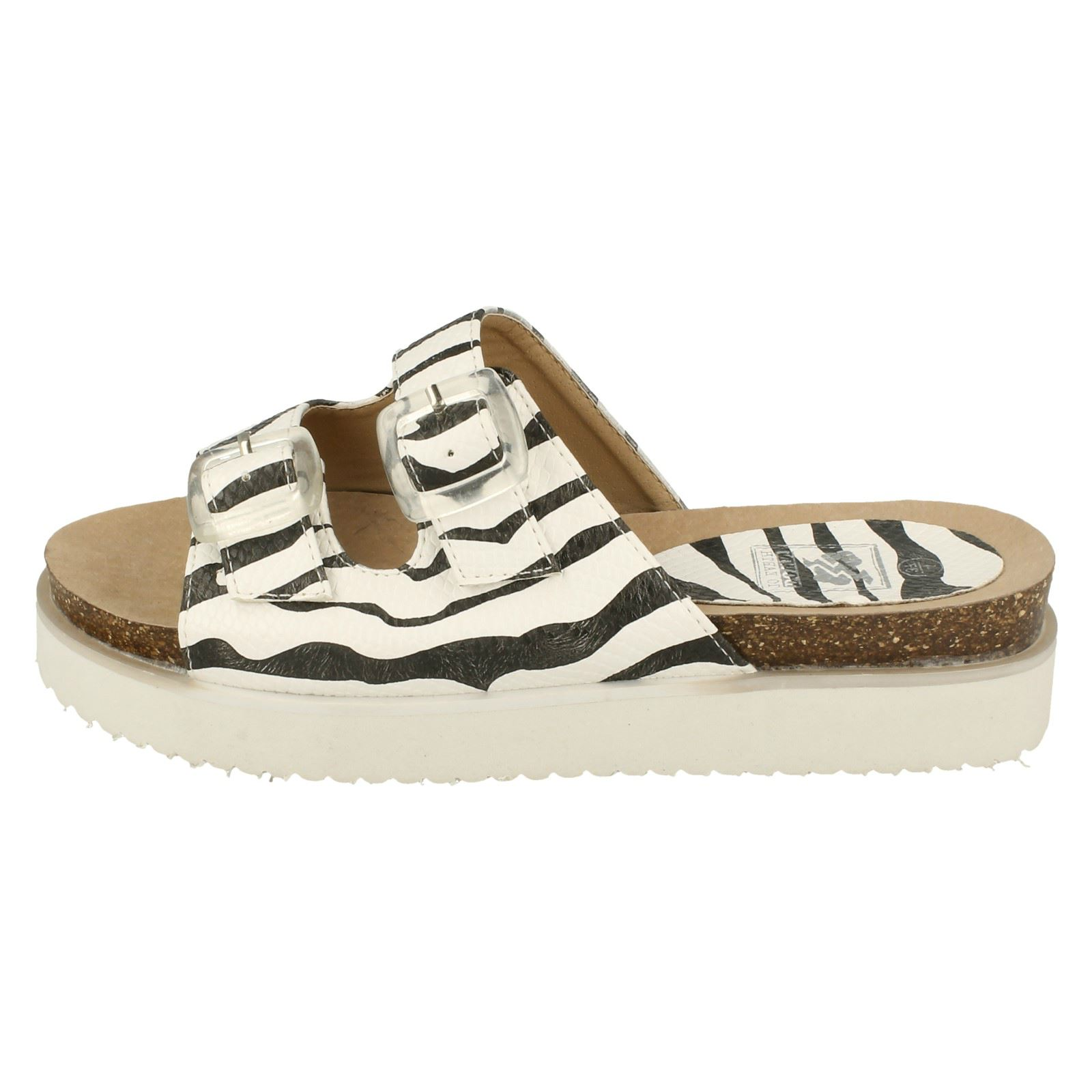 Down To Earth Double Buckle Slip On Ladies Mule Sandals