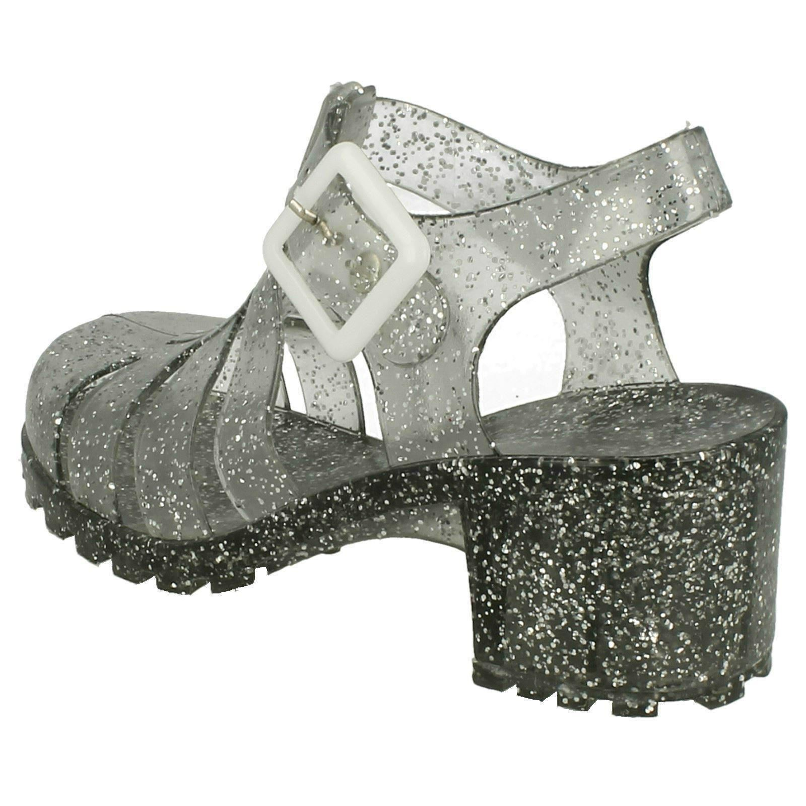Girls Spot On Synthetic Glitter Jelly Shoes