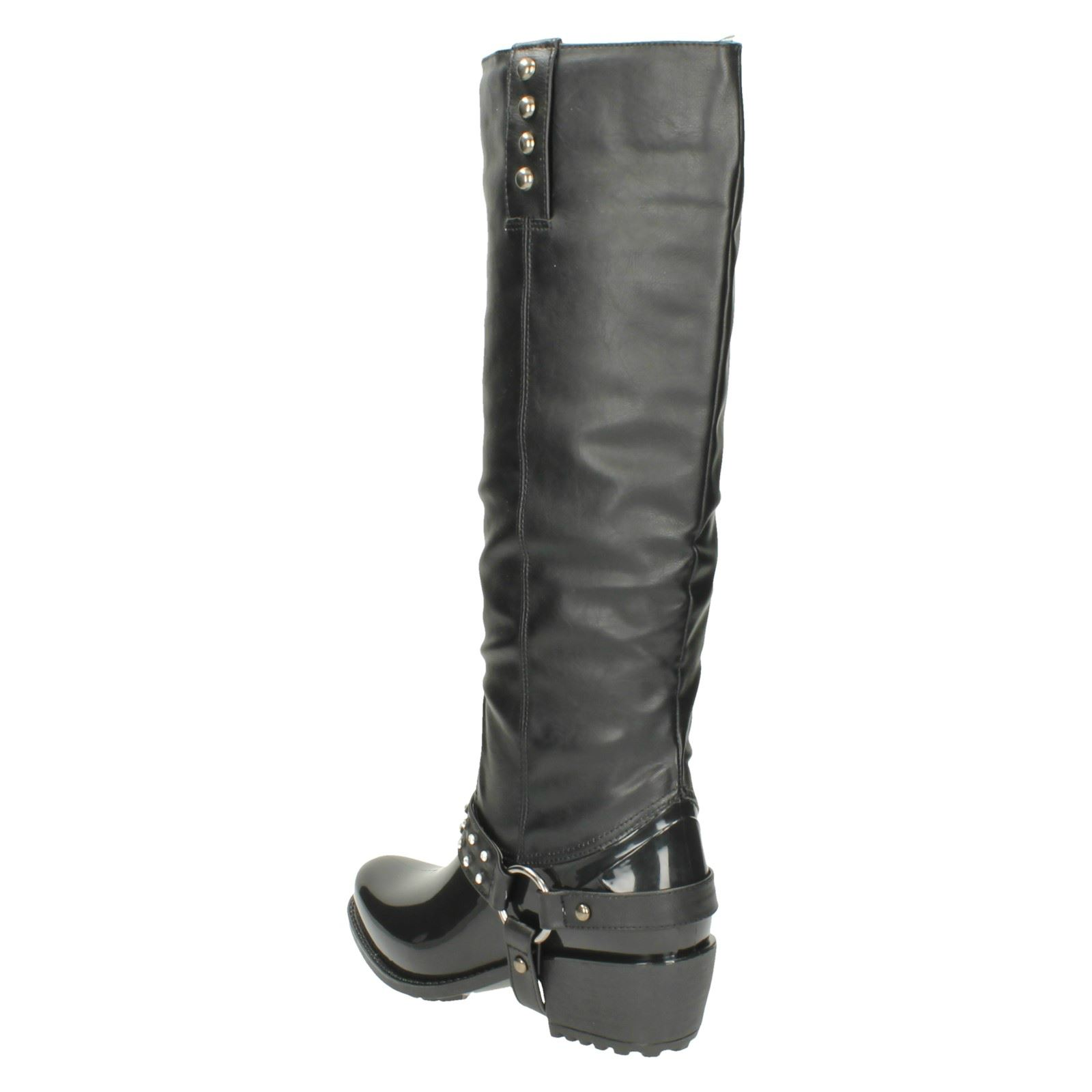 Ladies Spot On Chunky Heel Diamante Trim Strap Studded Boot X1137