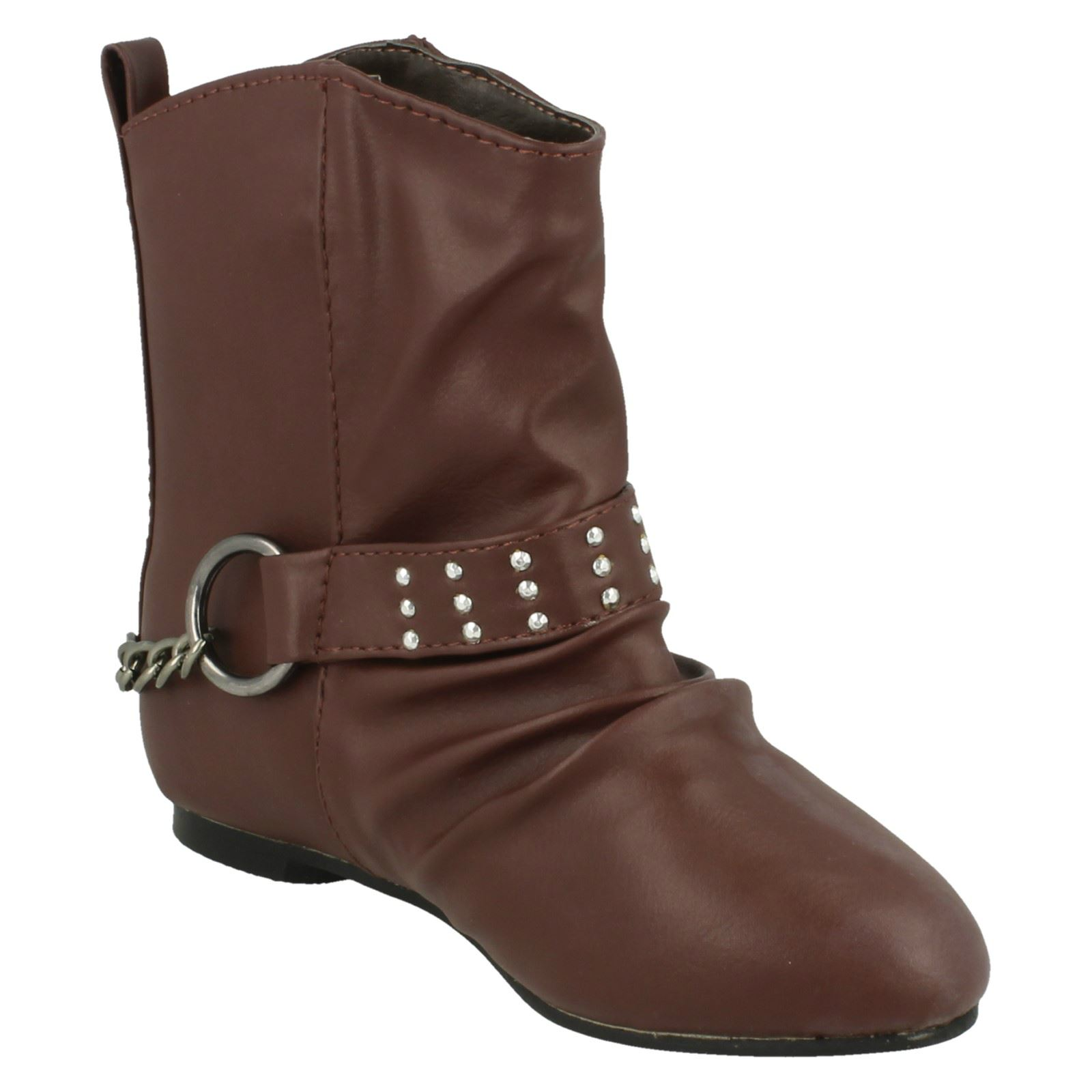 Girls Spot On Flat Ankle Boot *H4087*