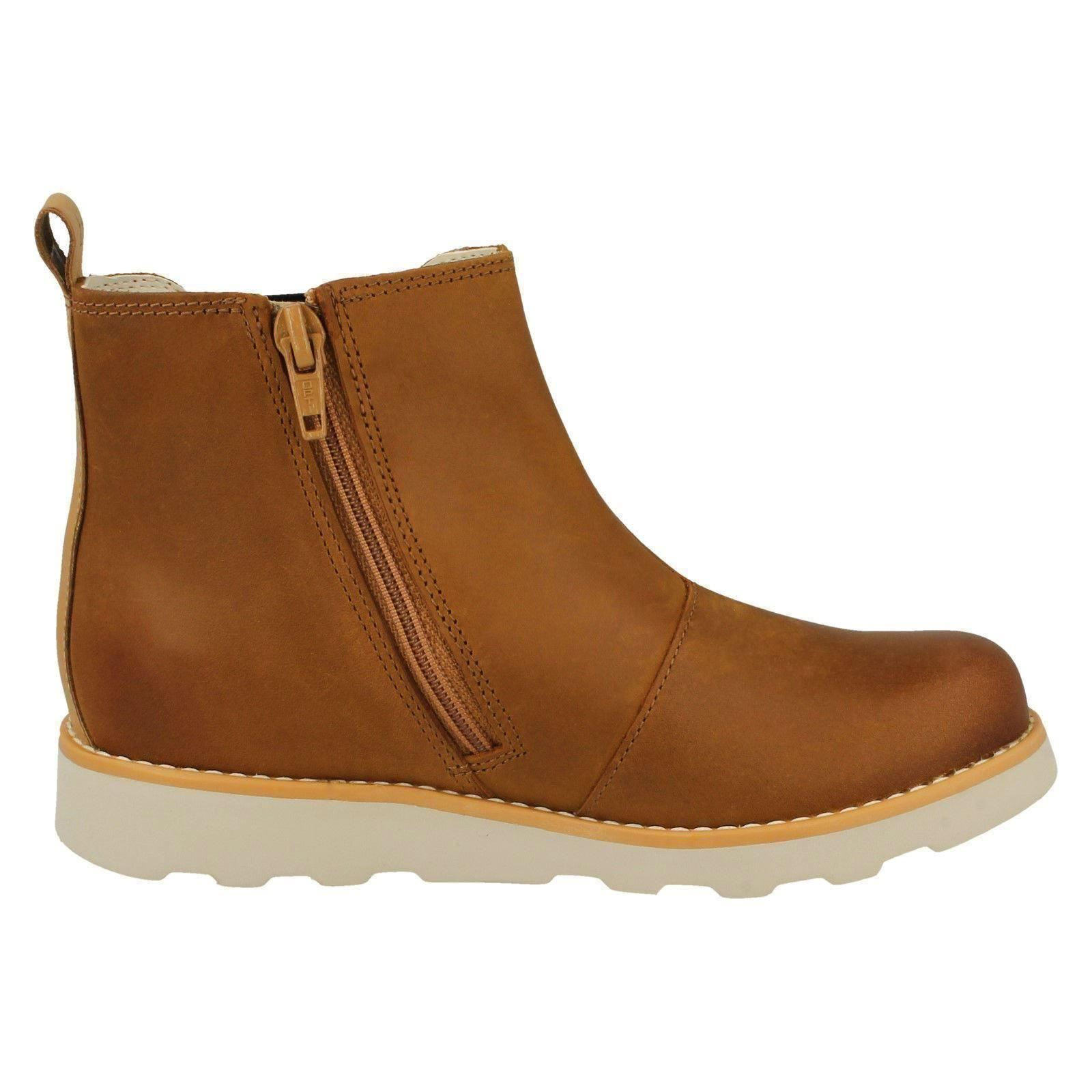 Boys Clarks Gusset Detail Casual Zip Leather Ankle Boots Crown Halo