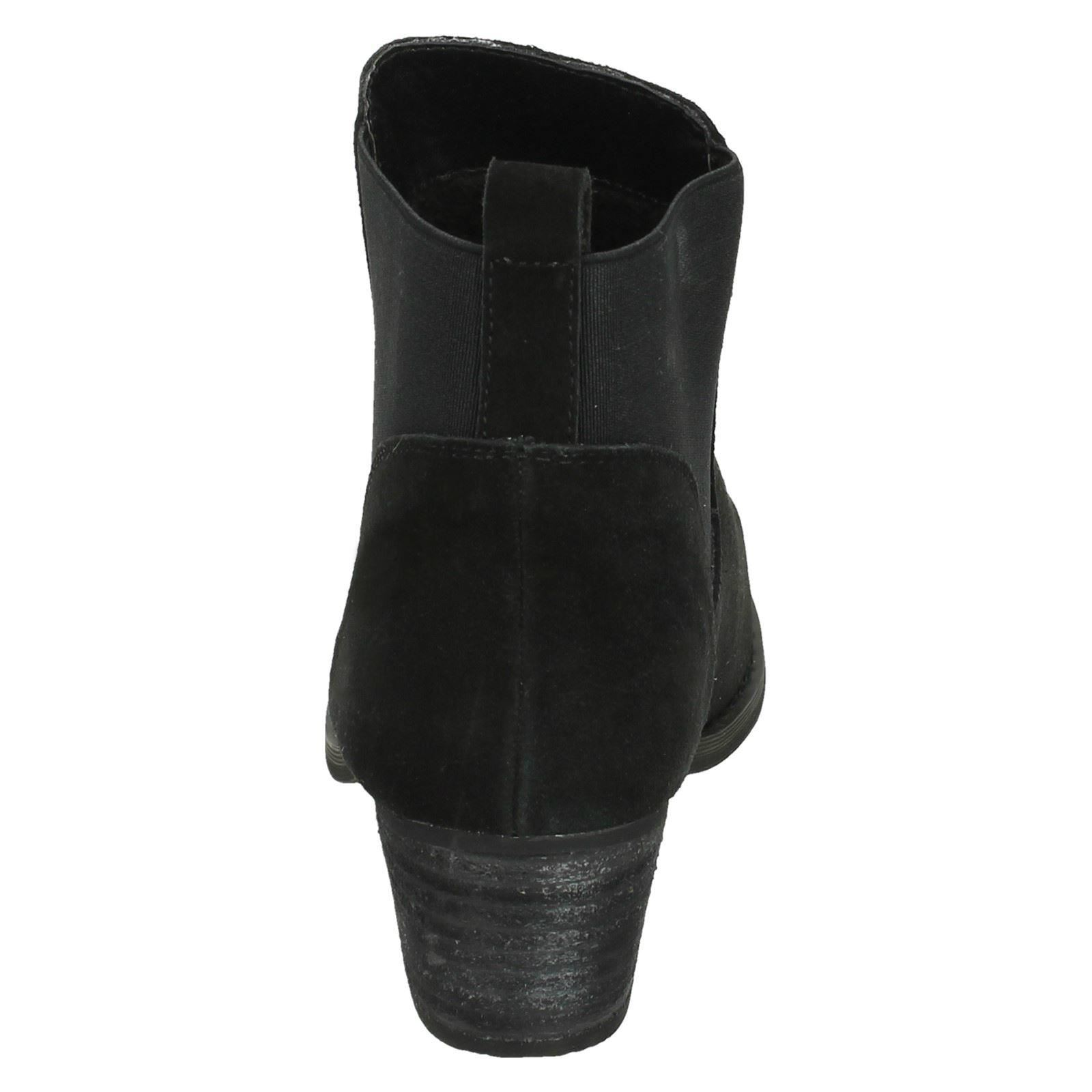 Ladies Down To Earth Slip On Mid Heel Ankle Boots