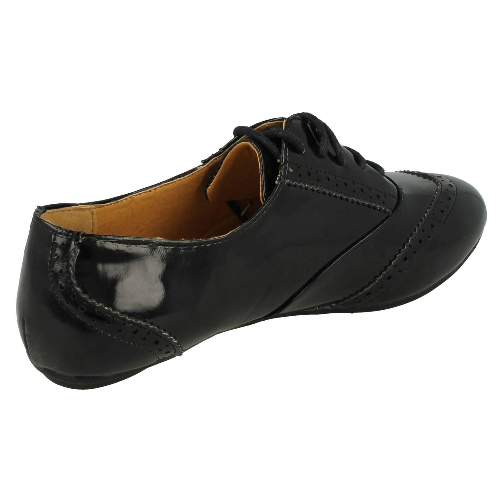 Spot On Ladies Flat Lace Up Brogue Shoes