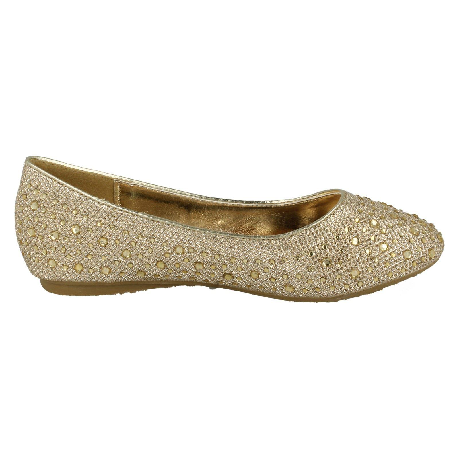 Girls Spot On Studded Detail Ballerina /'Flats/'