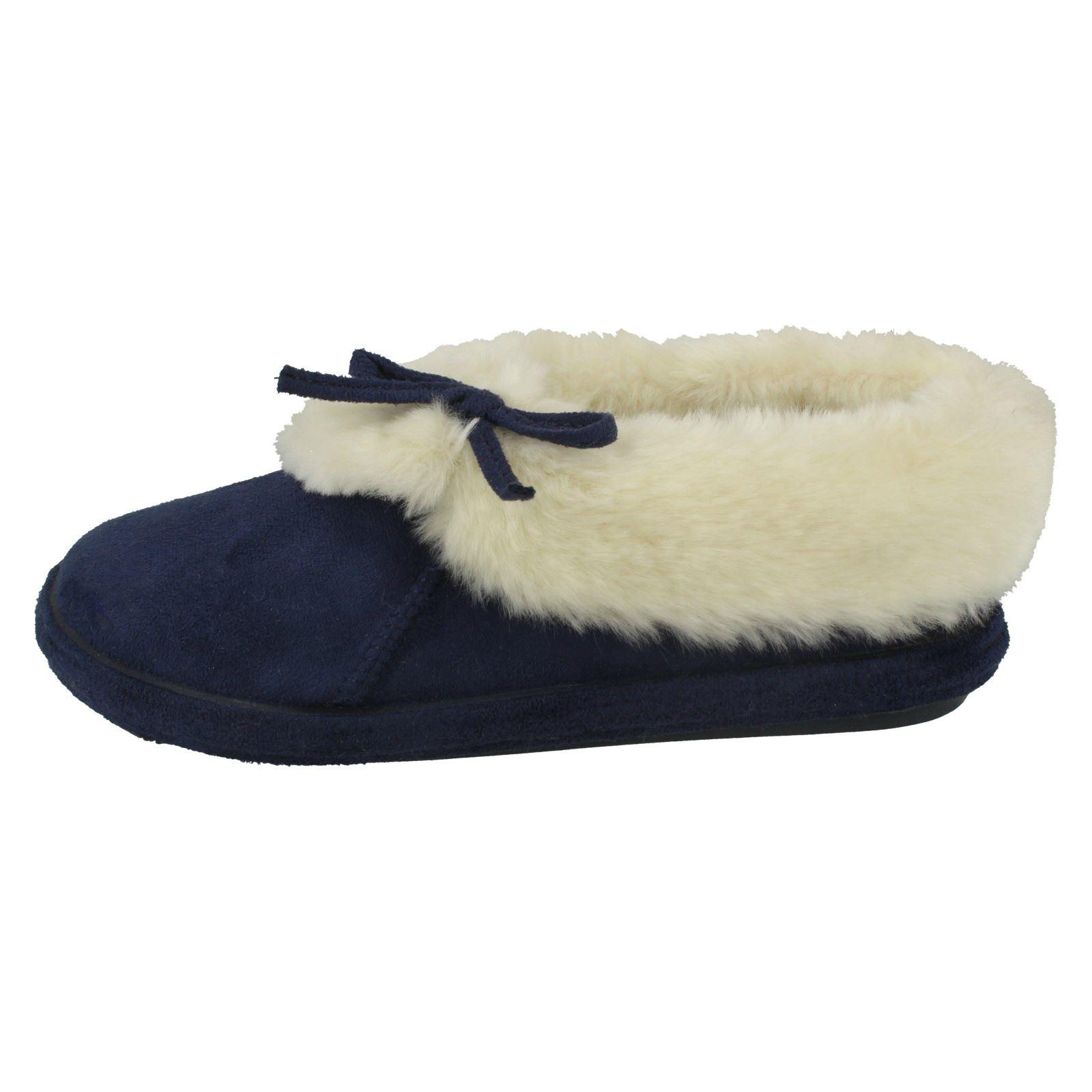 Ladies Jyoti Fur Lined Textile Slippers with Bow Detail Kalinda