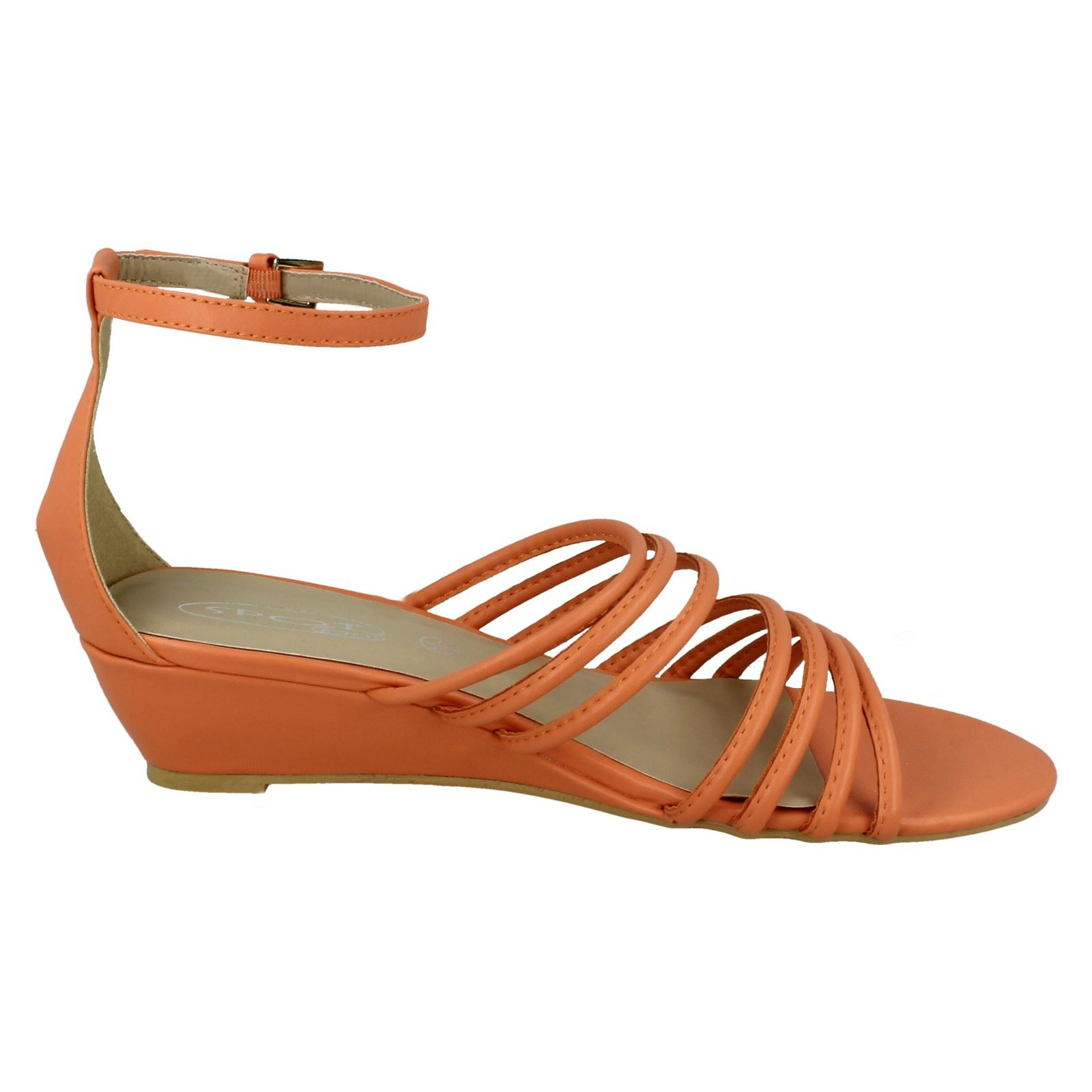Spot On Ladies Mid Wedge Strappy Sandals With Ankle Strap