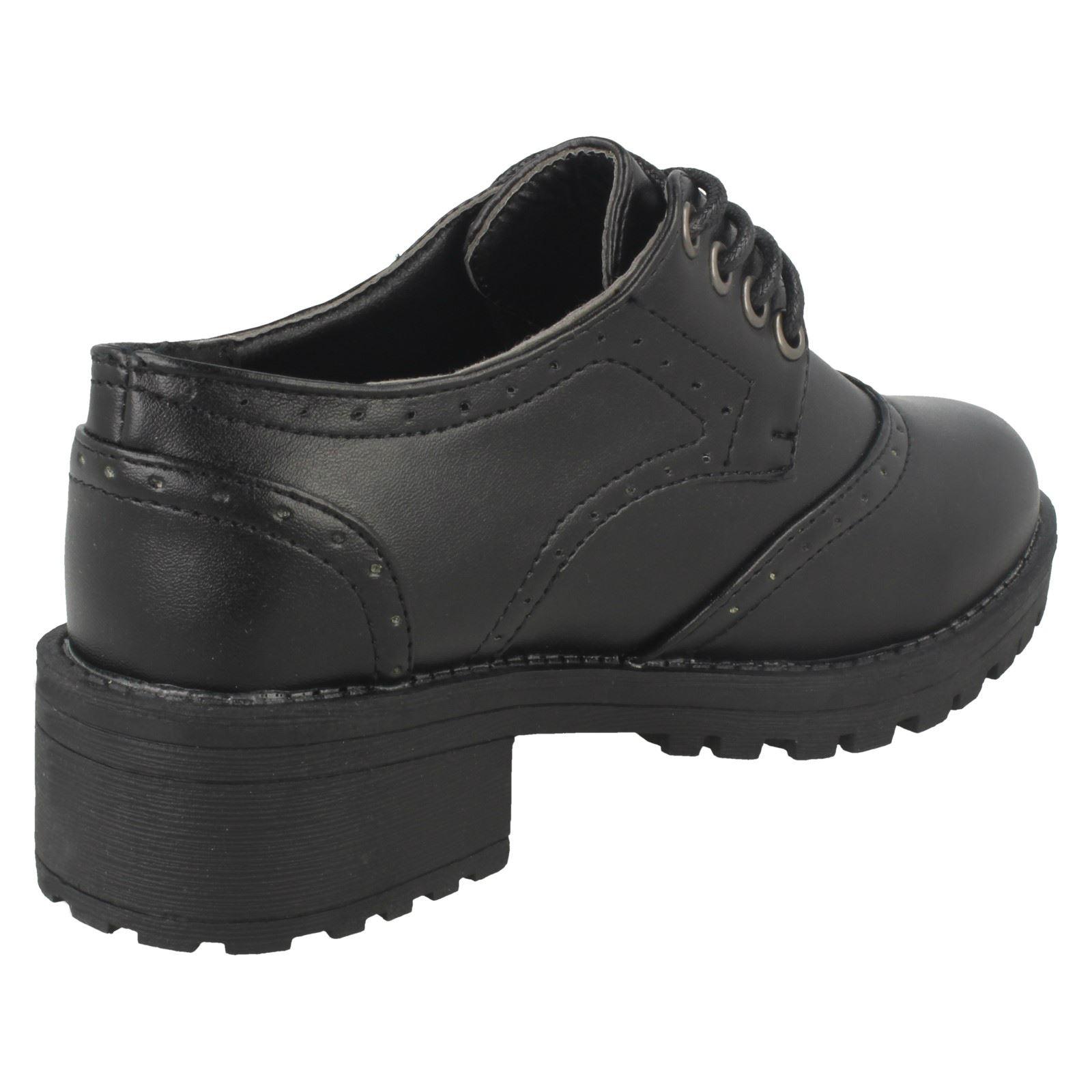 Mid Chunky Heel Brogue School Shoes Spot On Girls