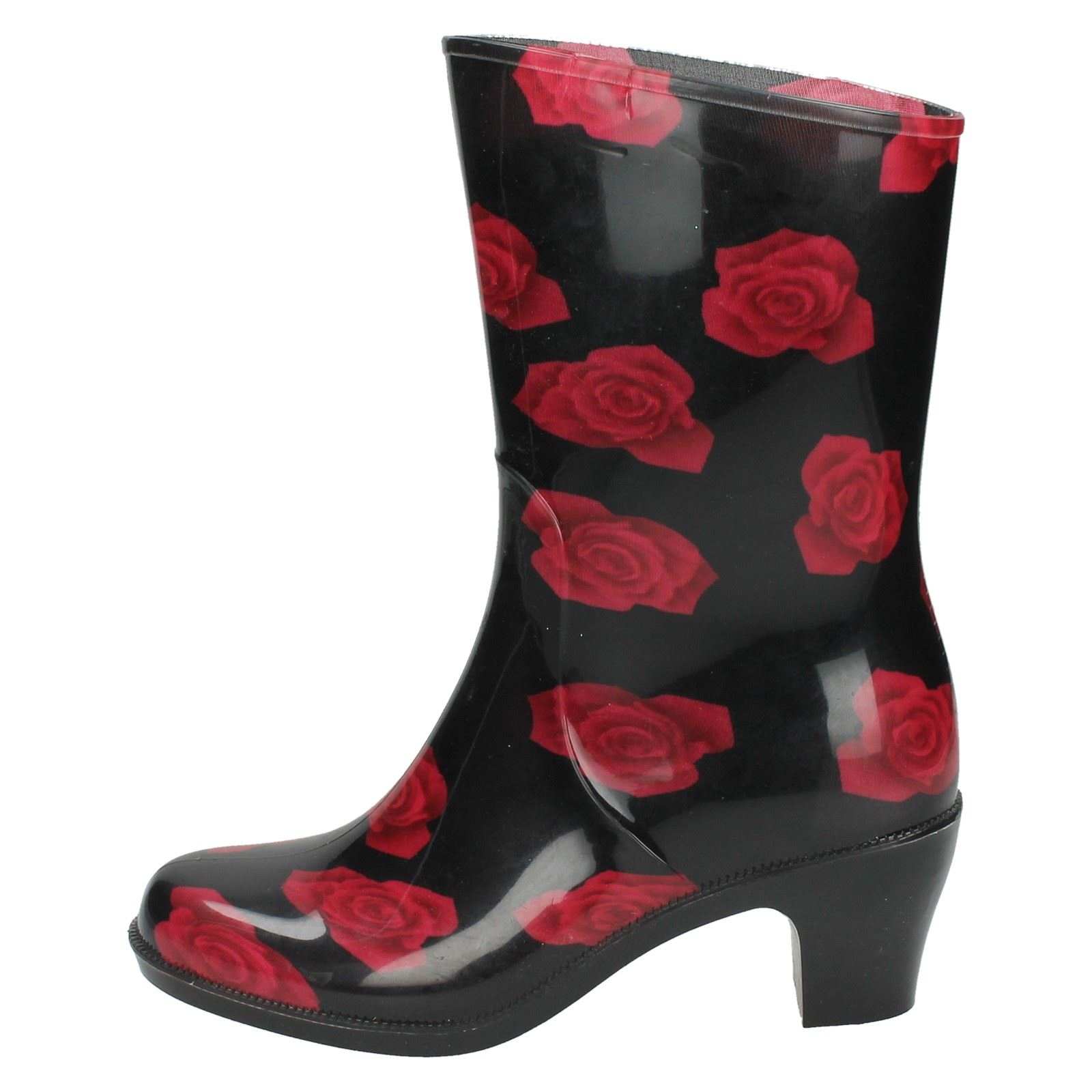 Ladies Spot On Heeled Rose Print Short /'Wellington Boots/'