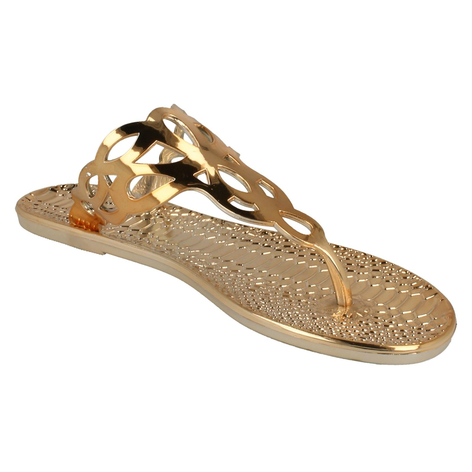 Femmes Spot on Plat Toepost Crocodile Pattern Sandale