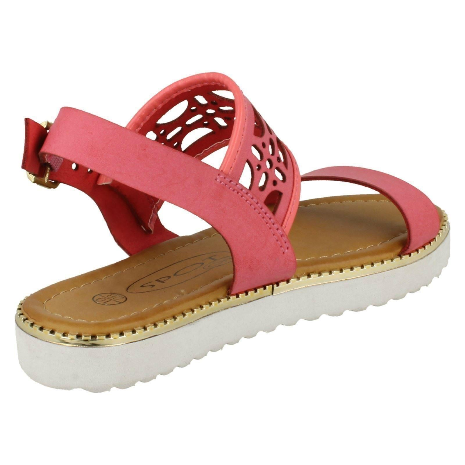 Spot On Girls Cut Out Ankle Strap Low Mules