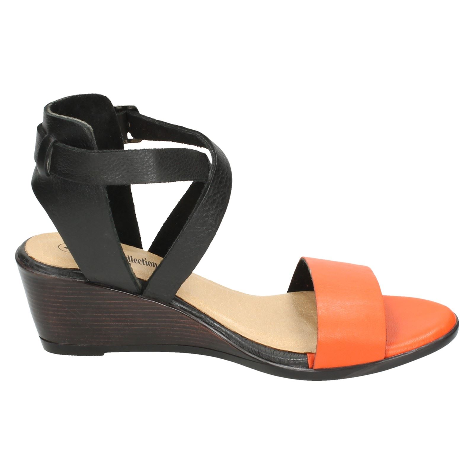Ladies Leather Collection Buckle Fastened Open Toe Sandals