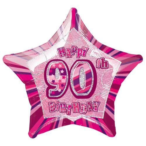 Pink Glitz Age 90 Party Decorations Silver Tableware Balloons Bunting