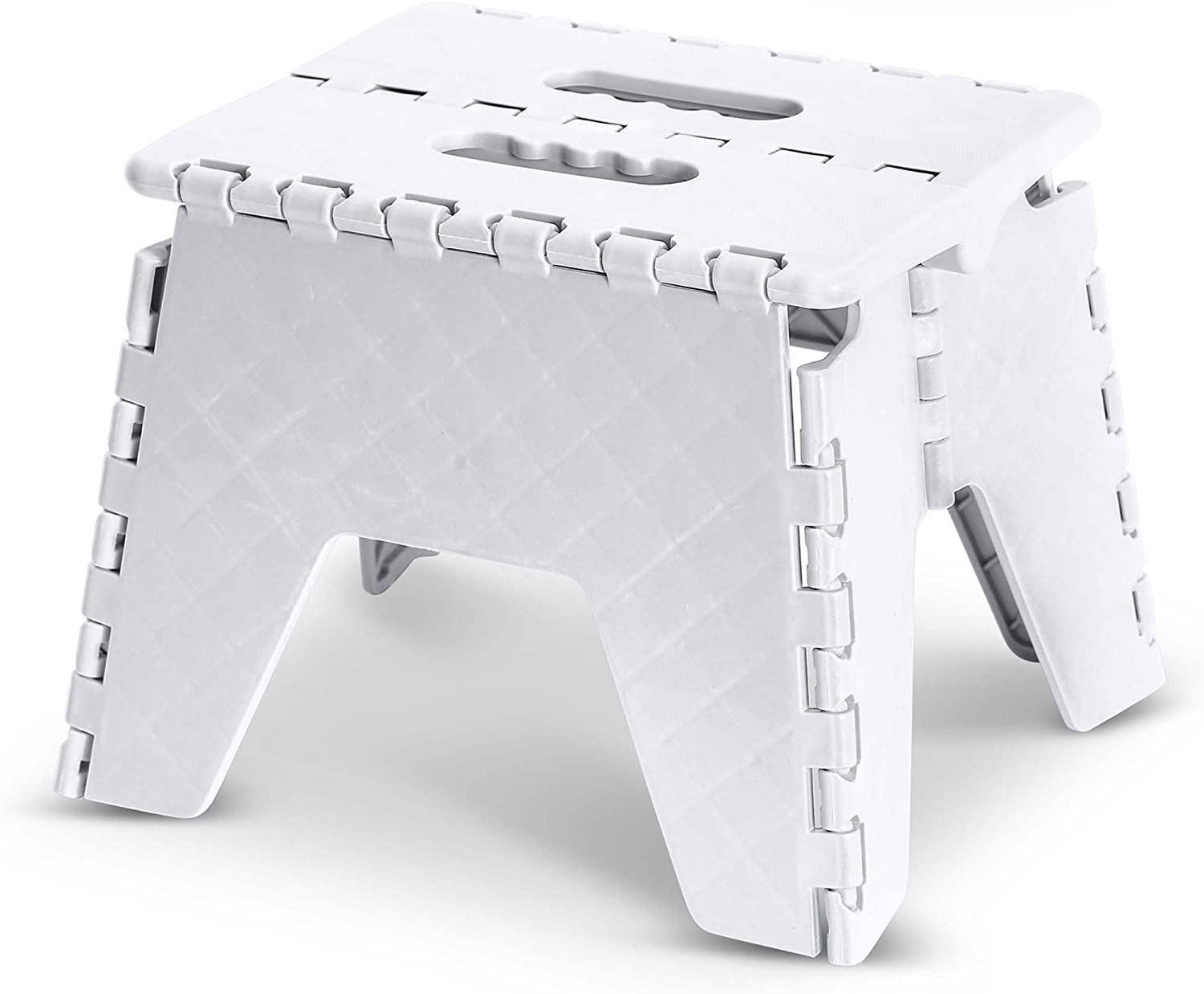 PLASTIC FOLDING STEP STOOL COMPACT STORABLE TRAVEL CARRY HANDLE STEPPING REACH