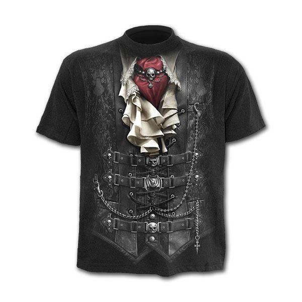 Spiral Direct Waisted Victorian Steampunk Bondage Black Short Sleeved Tshirt Top