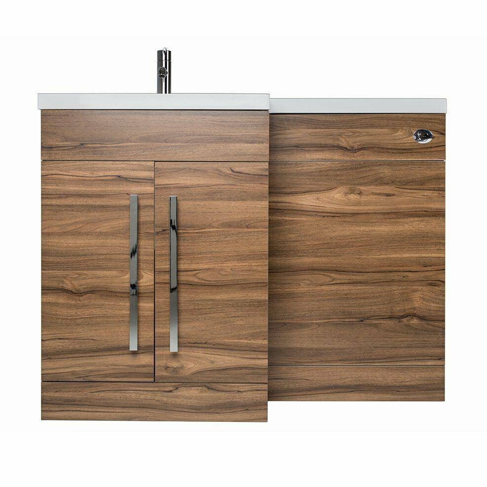 Bathroom LH /& RH Combination Toilet Oak,Walnut,Grey Vanity Unit /& Basin White
