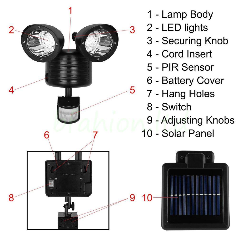 New 22 Led Twin Light Pir Motion Solar Powered Light Garden Sensor Security