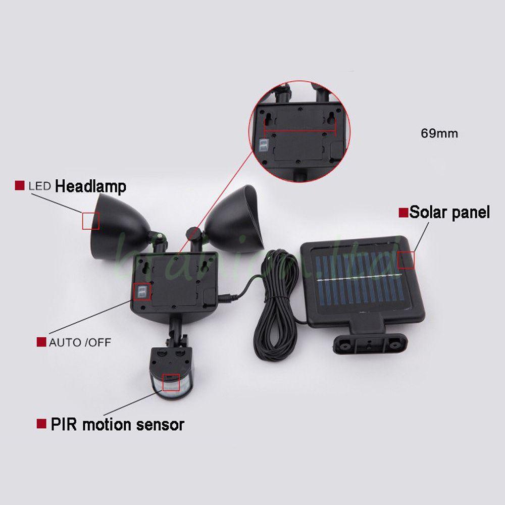 NUOVO 22 LED luce doppio PIR Movimento Energia Solare Luce Giardino Sensore di sicurezza