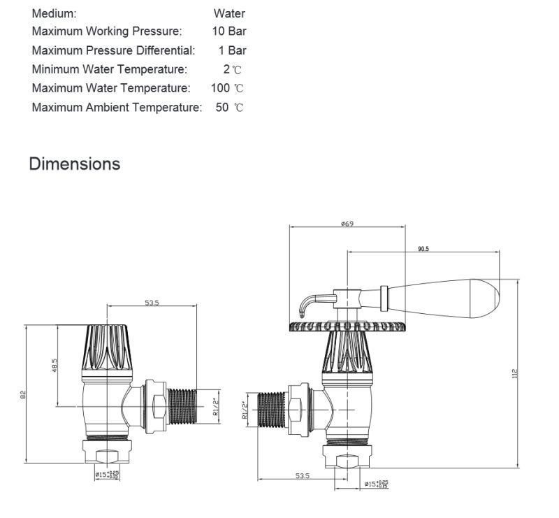 Bentley Levier Traditionnel Radiateur Vannes-Angle Manuel Radiateur Valve Set