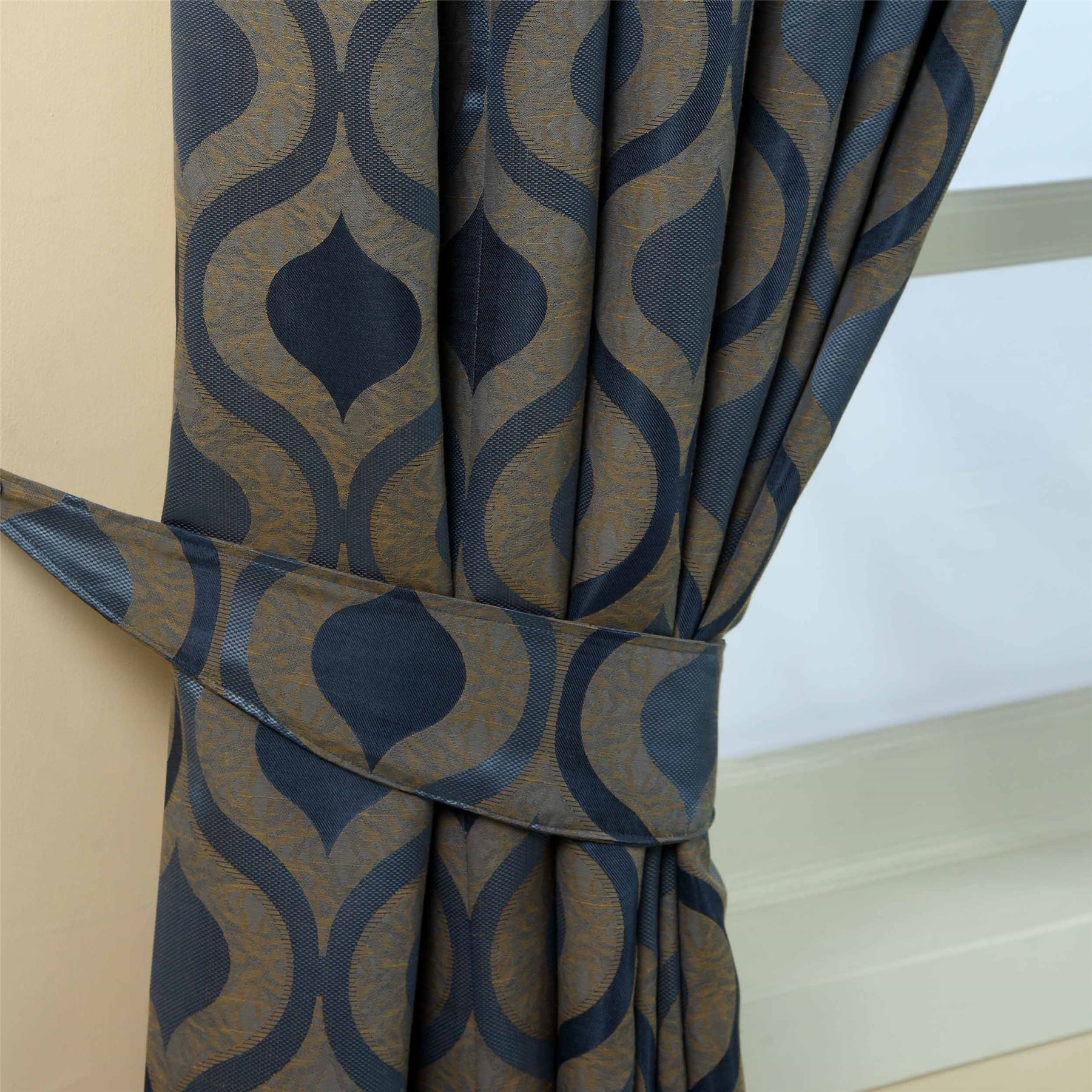 Pencil Pleat Jacquard Curtains Modern Wave Fully Lined Blue Cream Green Purple