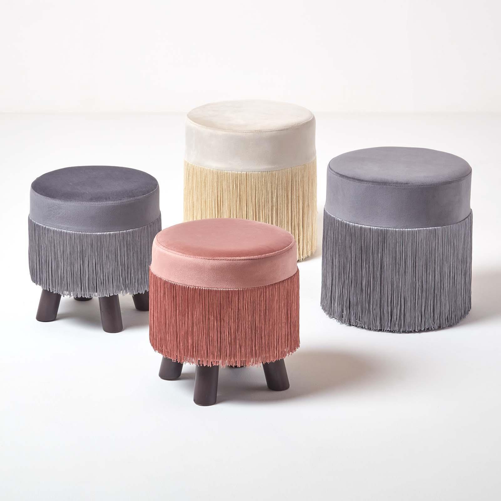 Velvet Pouffe with Retro Style Fringe Tassels Upholstered Round Footstool
