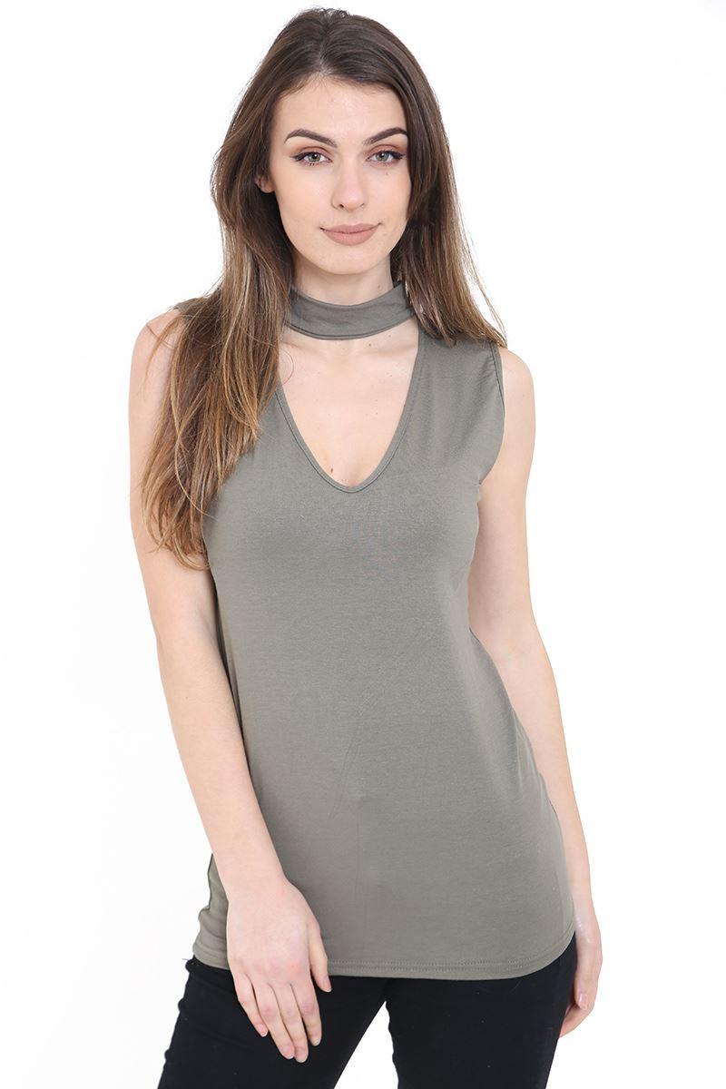 Femme Haut Tour de cou Col V Cut Out Plongeant Sans Manches Uni Chemisier Shirt Top