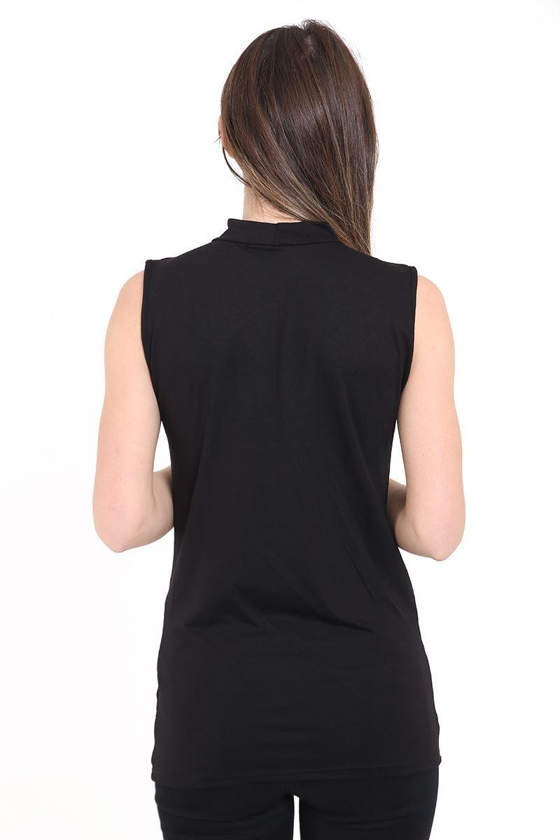 New Womens High Choker V Neck Collar Cut Out Plunge Sleeveless Blouse Shirt Top