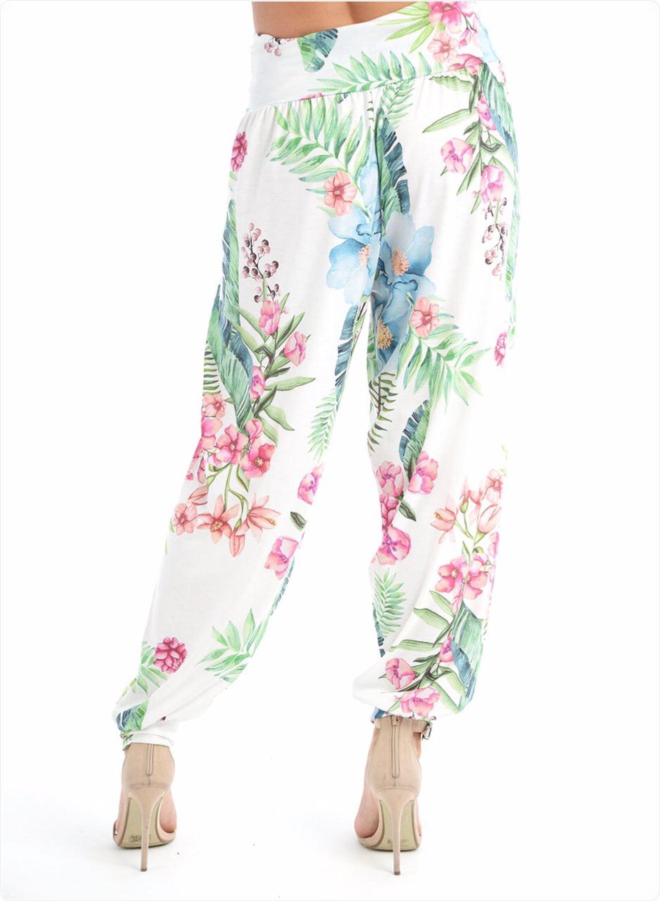 New Womens Ladies Printed Cuffed Bottom Ali Baba Harem Baggy Trousers Leggings