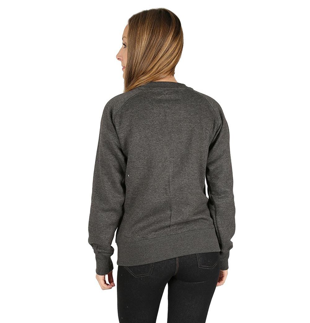 Womens Plain Long Sleeve Crew Neck Fleece Sweatshirt Casual Pullover Jumper Top