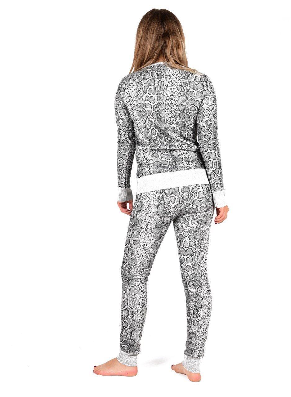 New Womens Snake Print Loungewear Joggers Top Bottom 2 Pcs Set Tracksuit Jogsuit
