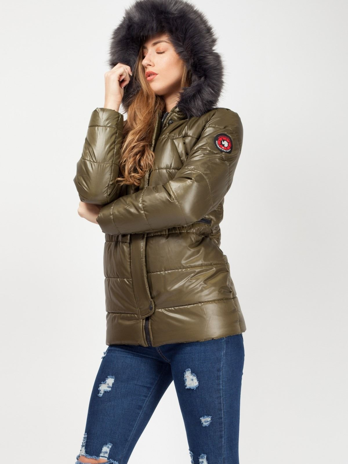 Womens Faux Fur Hood Padded Quilted Toggle Waist Sleeve Badge Winter Jacket Coat