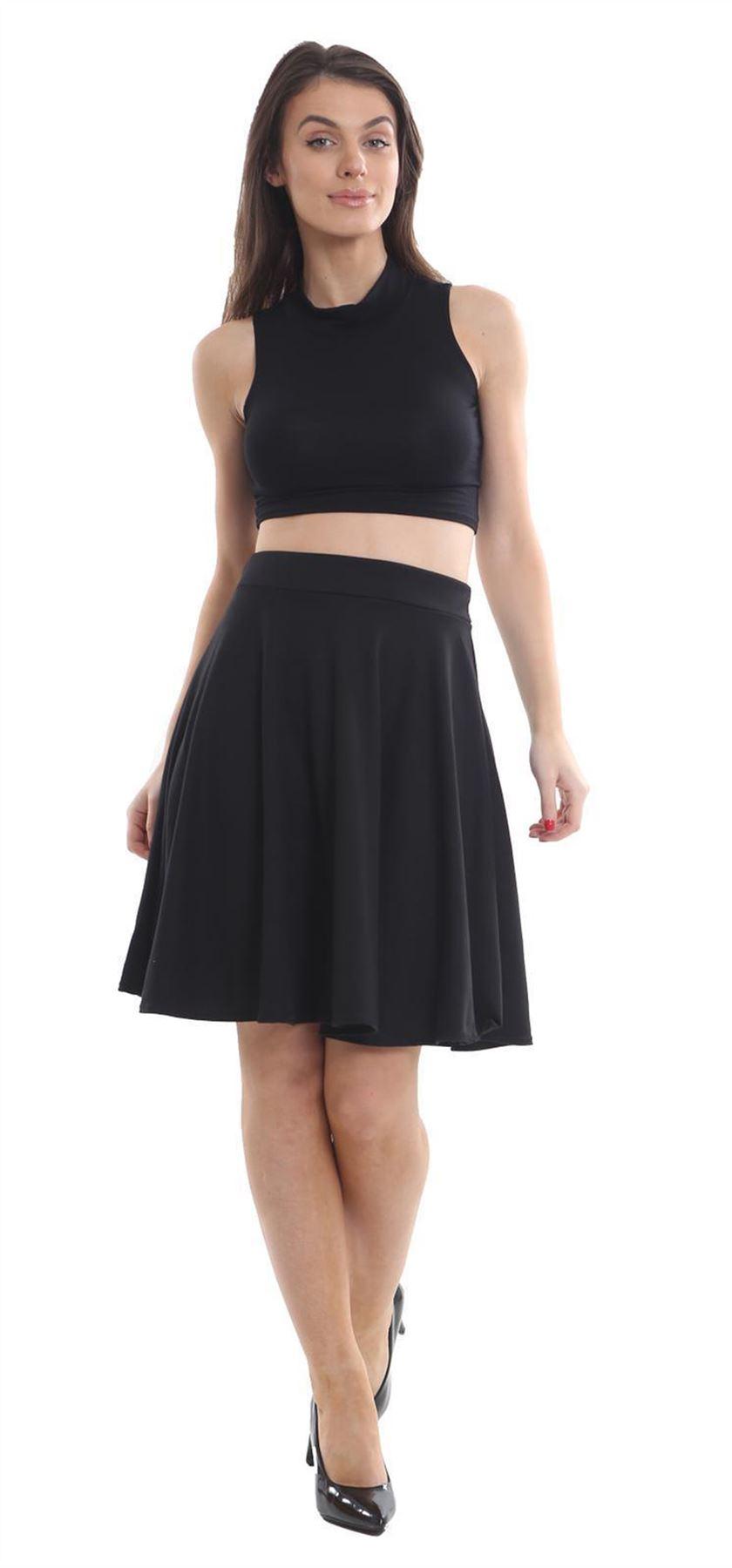 New Ladies Knee Length Plain Elasticated Waist Jersey Skater Flared Midi Skirt