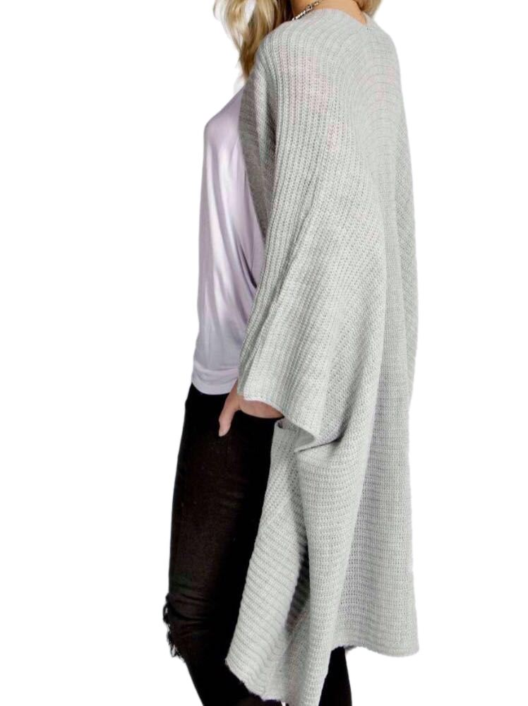 New Womens Chunky Knitted Baggy Oversized Pocket Long Jumpers Cardigans Cape Top