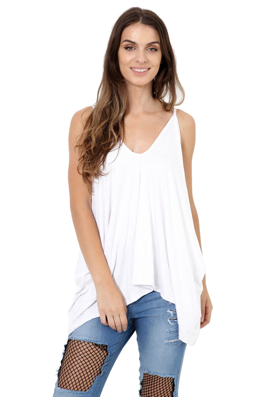 New Womens Strappy V Neck Baggy Fit Lagenlook Hanky Romper Summer Cami Vest Top