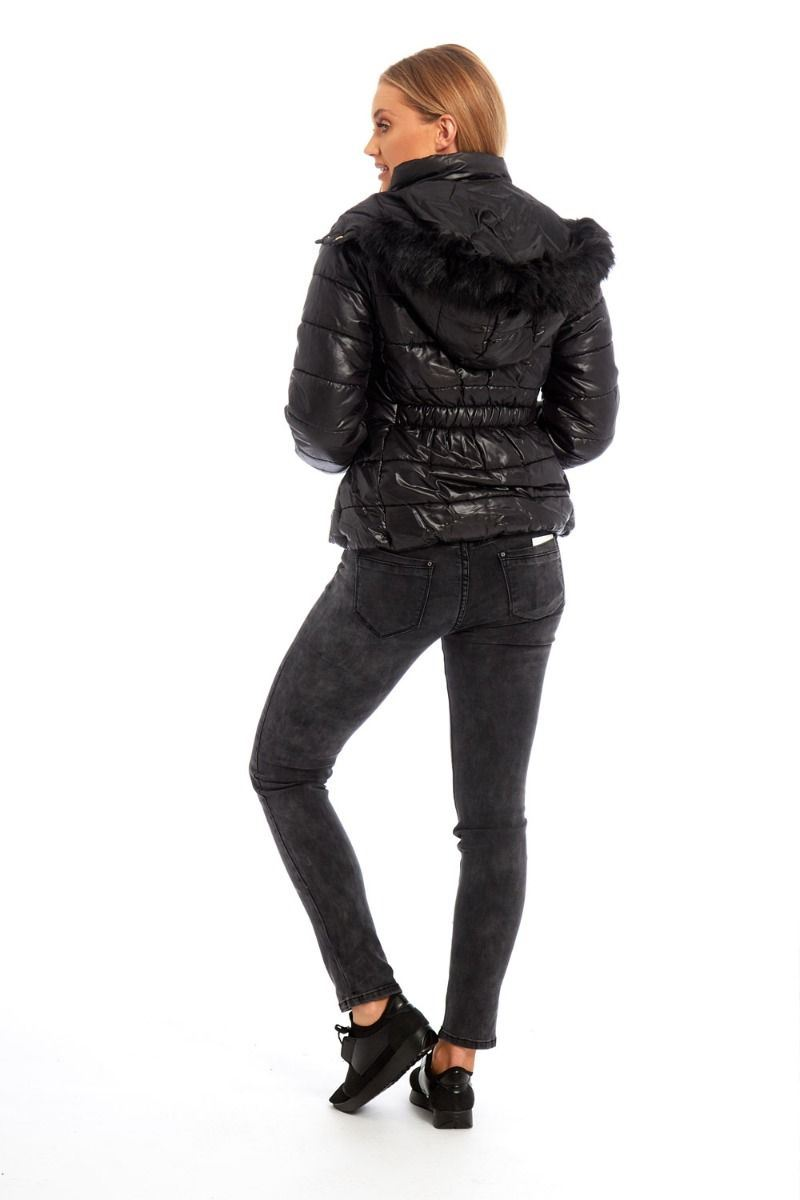 New Womens Black Fur Hooded Puffer Bubble Padded Quilted Thick Warm Jacket Coat