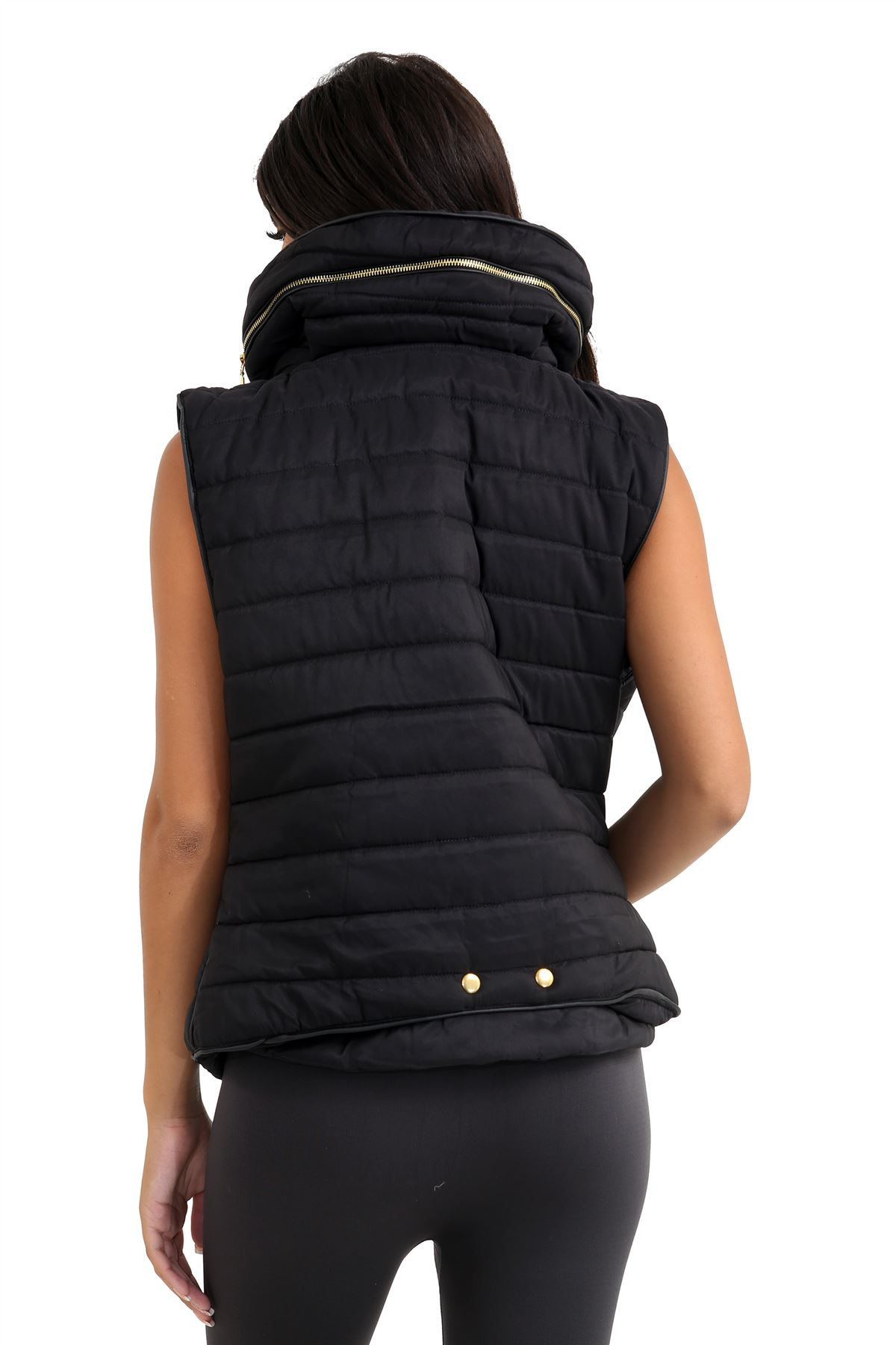 Ladies Gilet Quilted Padded Body Warmer Sleeveless Fur Collar Puffer Jacket Coat