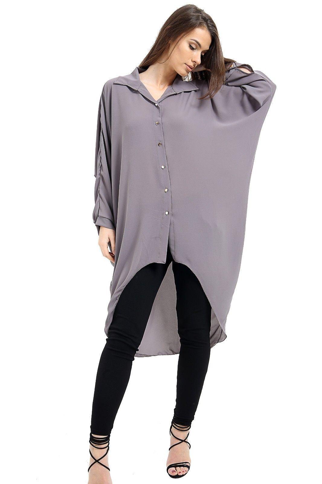 Womens Hi Lo Button Long Sleeve Collared Plain Chiffon Shirt Dress Dip Hem Top