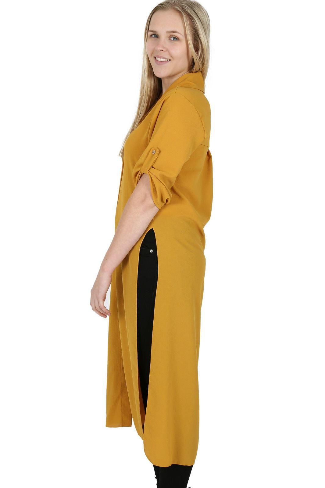 New Womens Plain Crepe Side Slit Button Collared Long Line Shirt Midi Dress Top