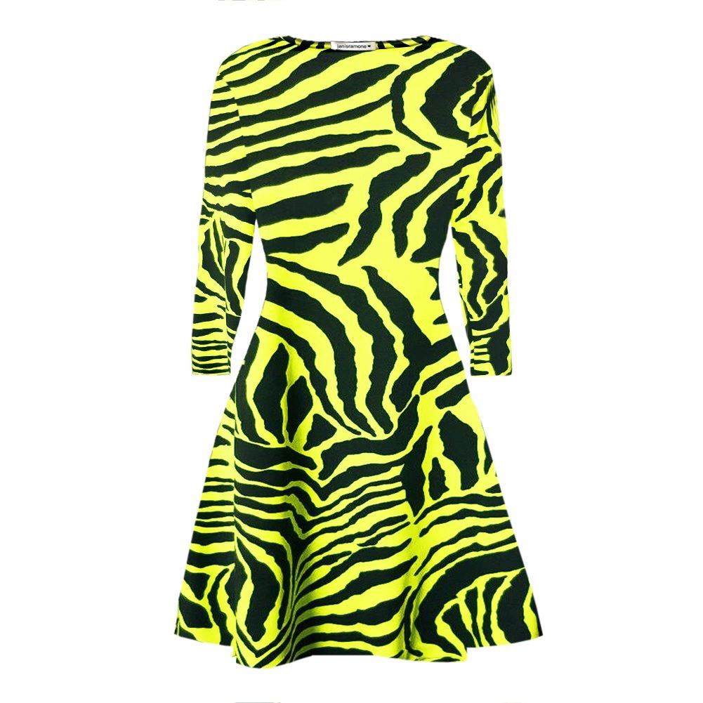 New Ladies Long Sleeve Zebra Print Flare Skater Swing Dress Loose Party Mini Top