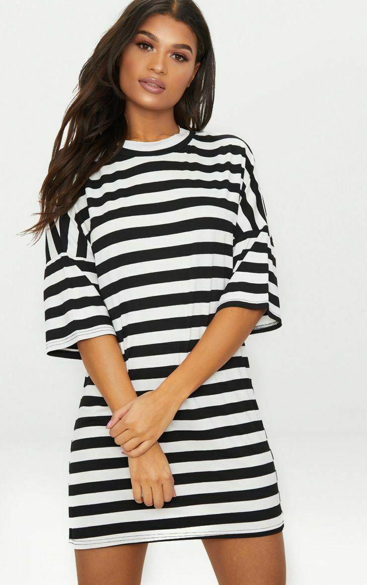 Ladies Stripe Printed Oversized Baggy Boyfriend Shift PJ Dress Long T-Shirt Top