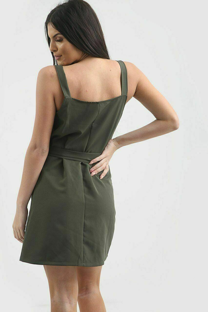 Womens Wrap Over Front Sleeveless Button Buckle Bodycon Belted Mini Party Dress
