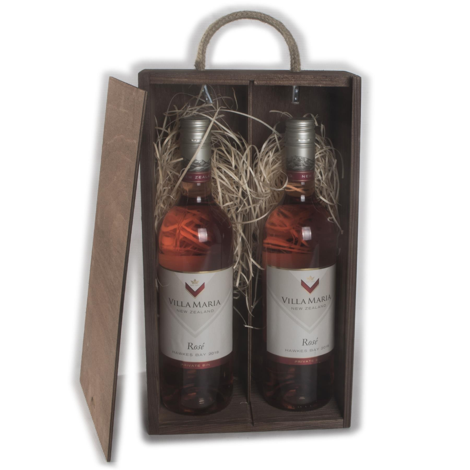 Wine Wooden Gift Box 2 Bottles Rope Handle 10 Colours Filling Incl.