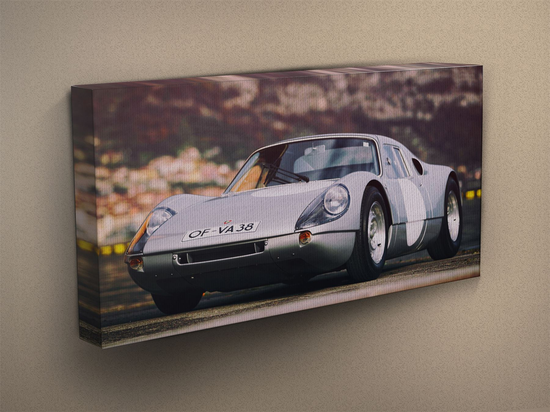 Grey Canvas Art Print #008795 Porsche 904 Carrera