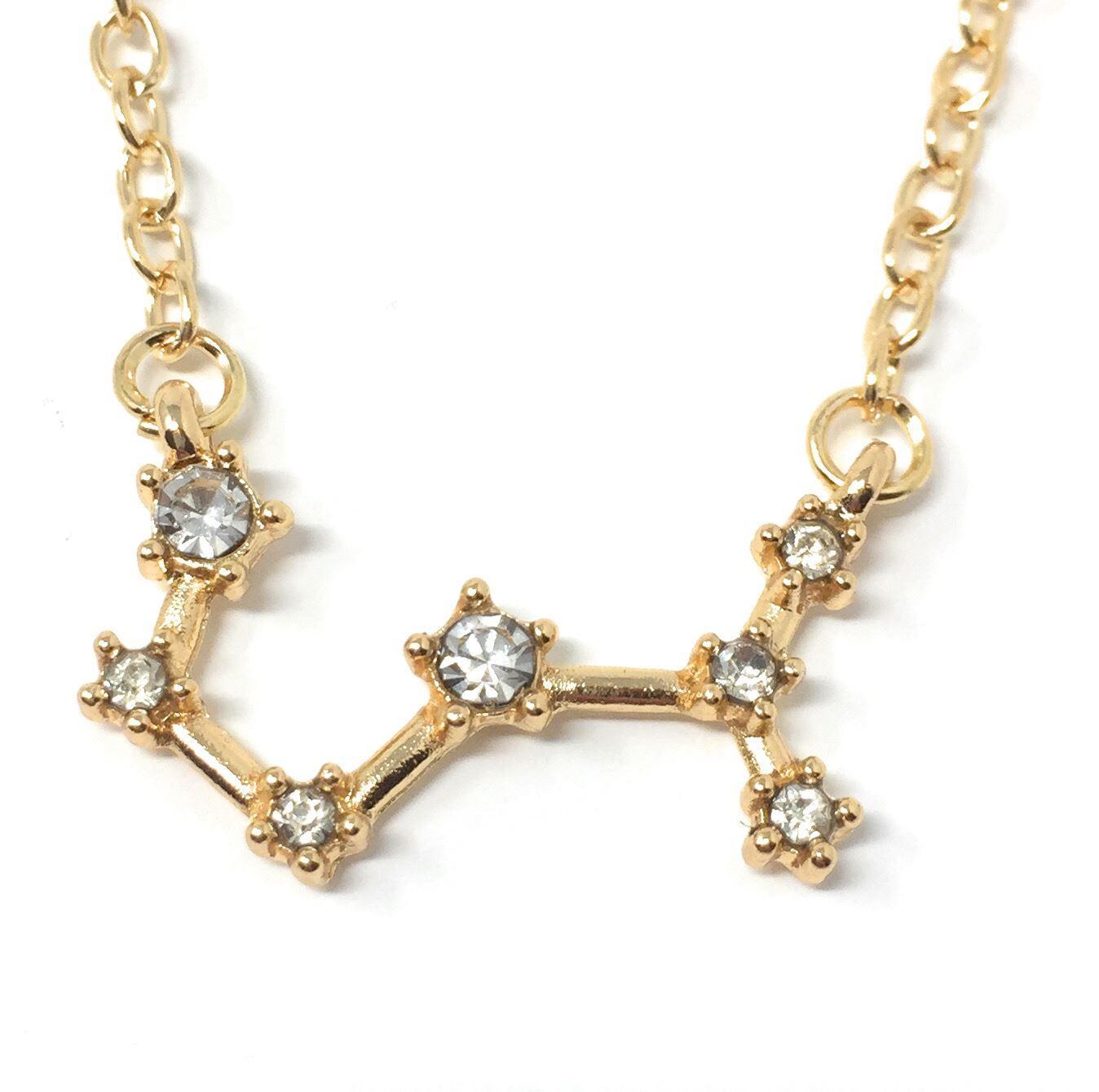 Gold Plt Gem Zodiac Necklace Star Sign Horoscope Astrology *UK* 925 Silver Plt