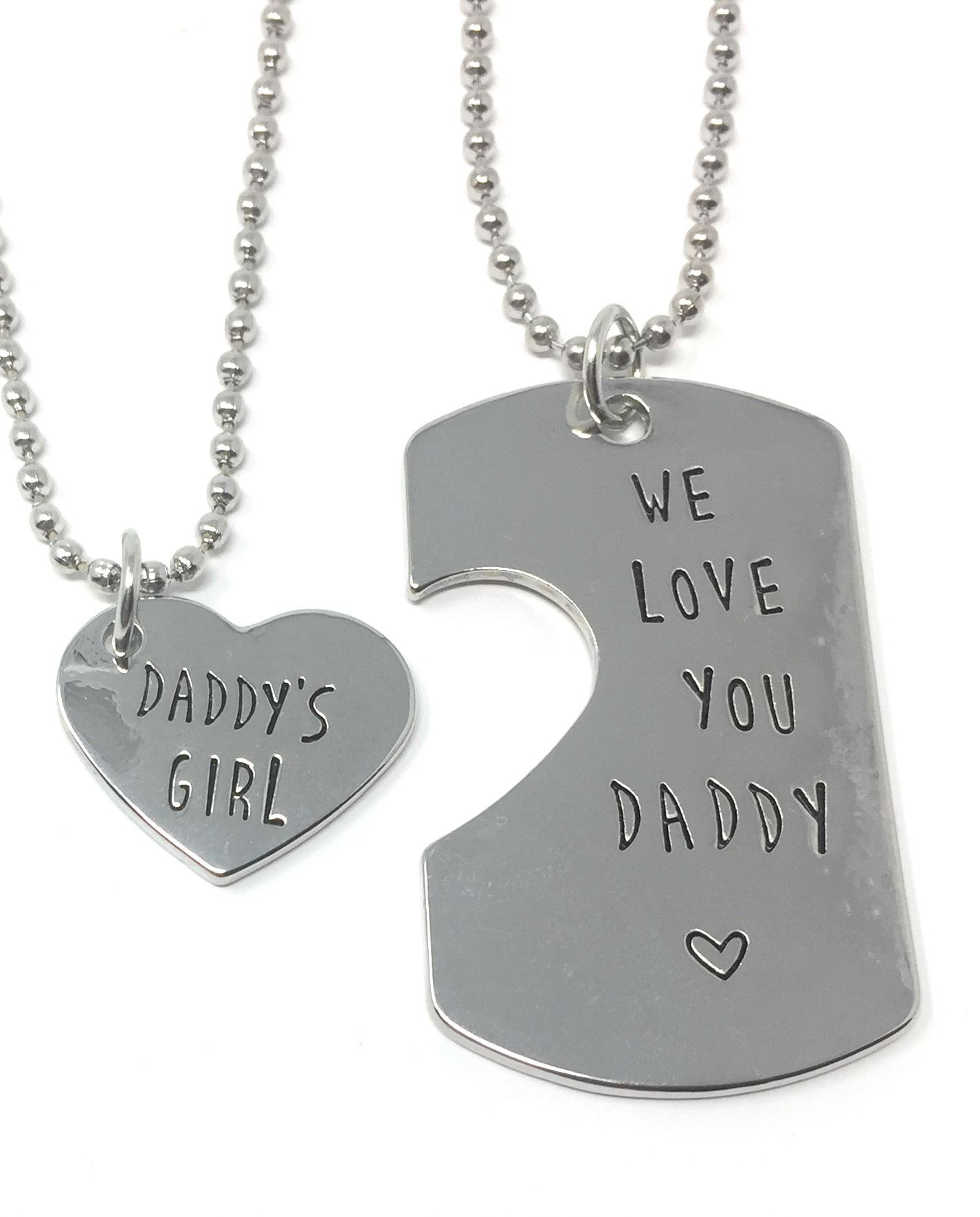 *UK* 925 SILVER PLT /'WE LOVE YOU DADDY/' /'DADDY/'S GIRL/' ENGRAVED KEYRING//NECKLACE