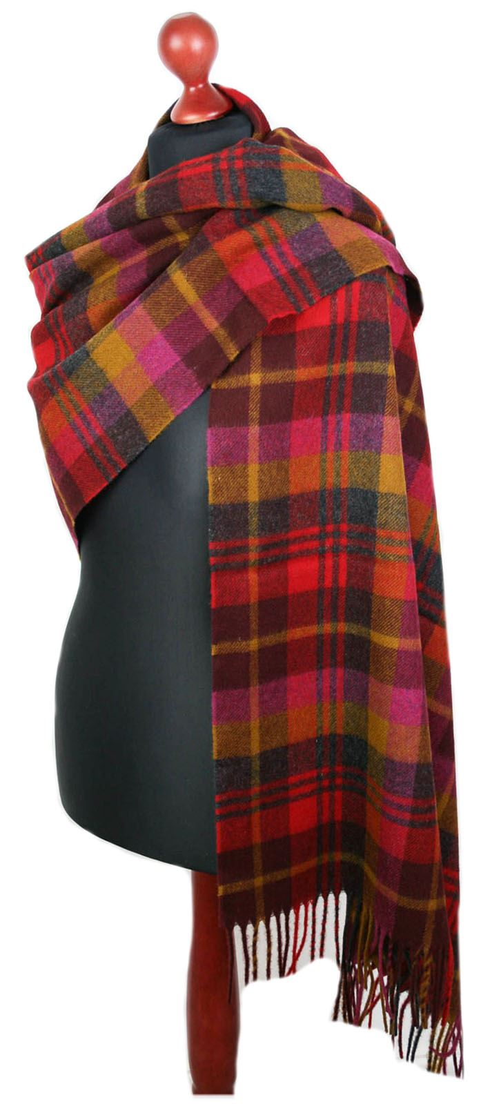 Bronte 100/% Merino Lambswool Check Stole Wide Scarf Shawl Wrap British made gift
