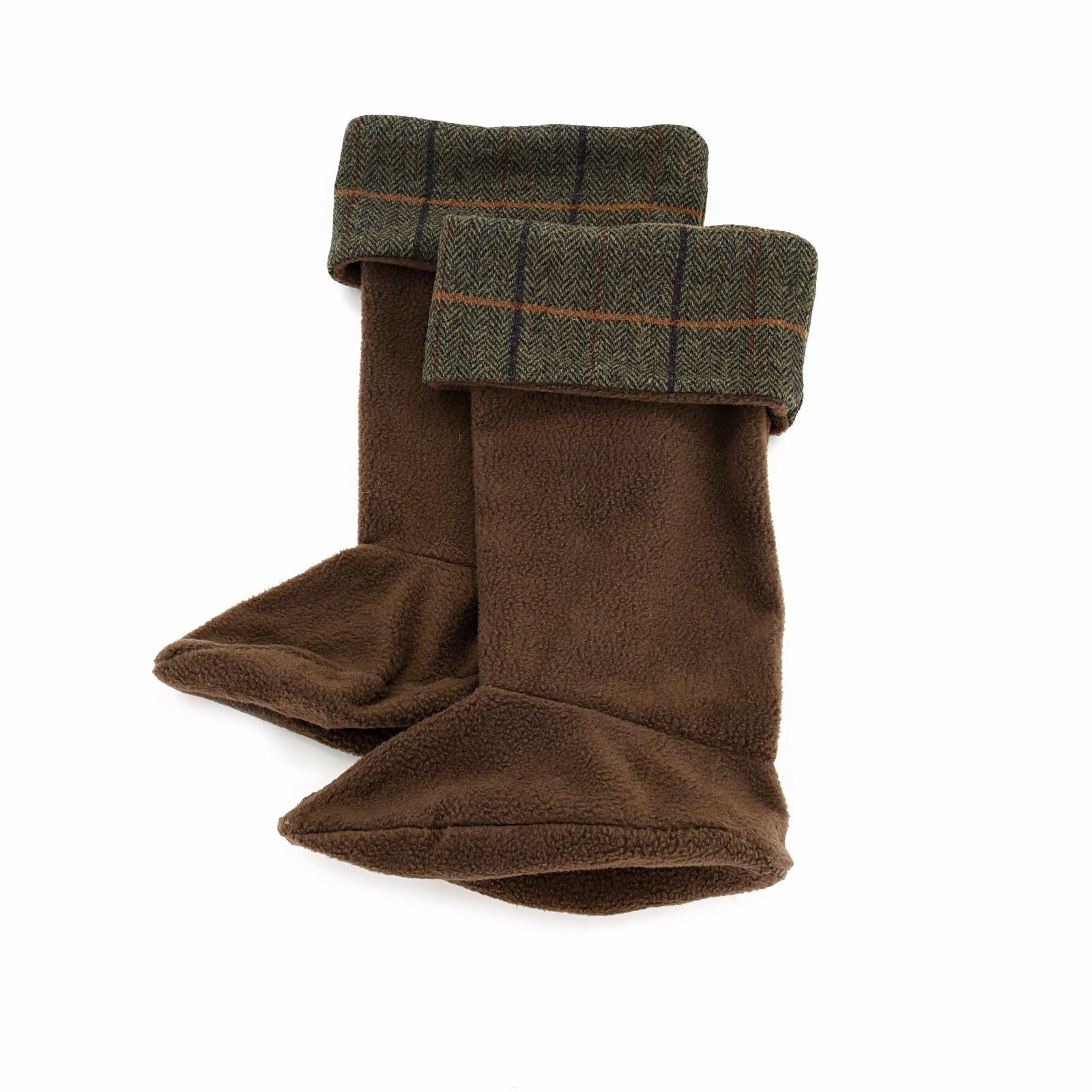 Tweed Welly Warmers Fleece Socks with 100/% Wool Green Tweed Trim British Made