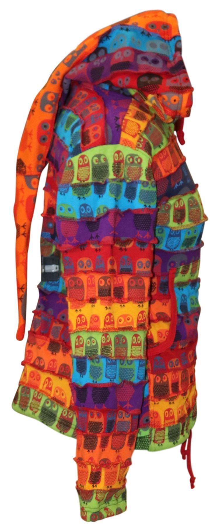 Womens Hippie Jacket Sweater Fleece Lined Owl Hoodie Cardigan Tpps Winter Jumper