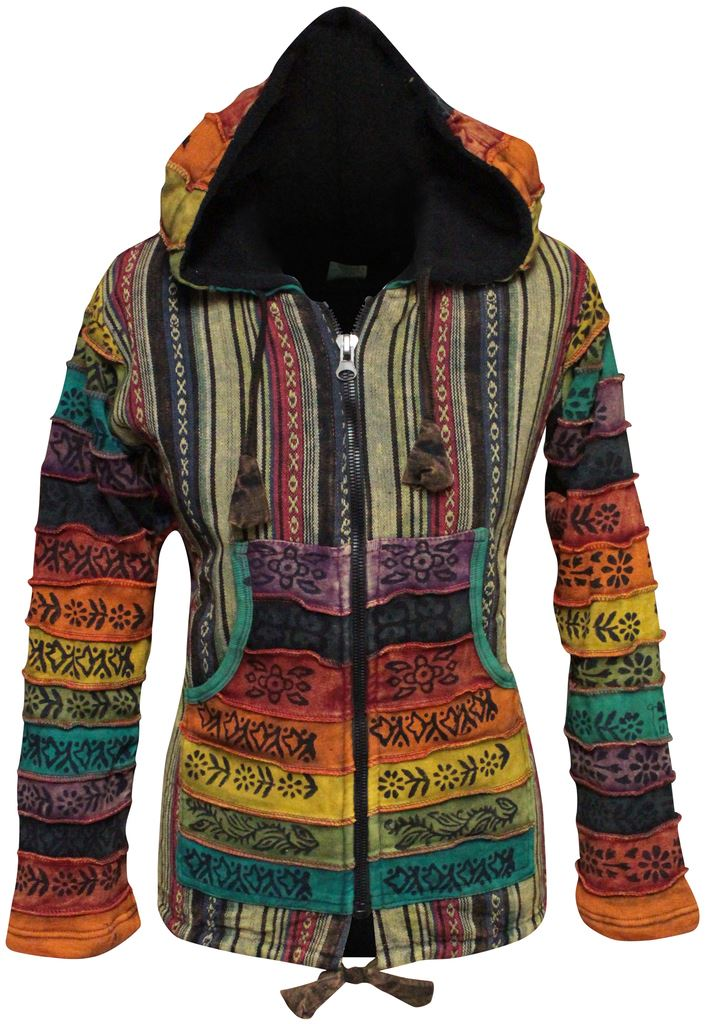 Rainbow Sleeved Fleece Lined Women Hippie Jacket Festival Gypsy Boho Goth Hoodie
