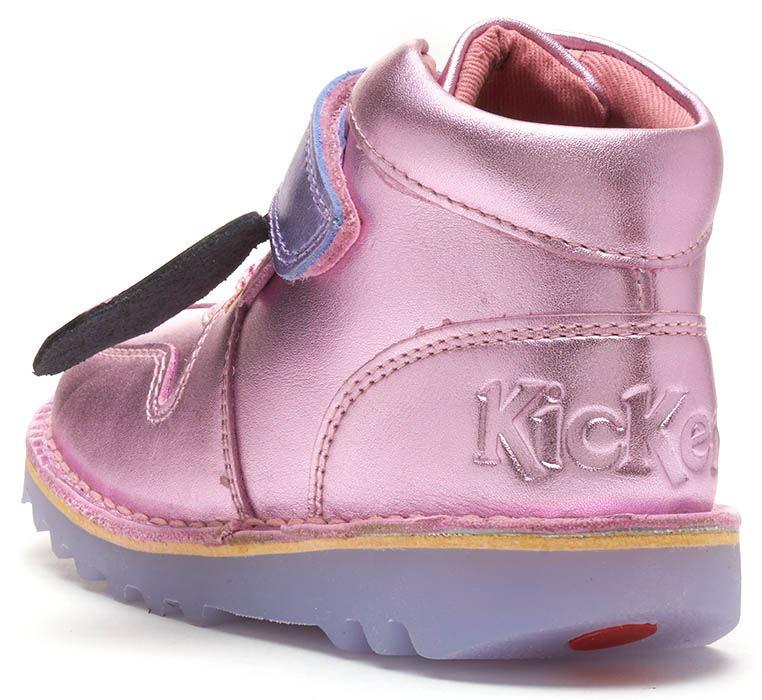 Kickers Kick Glow Flashing Light Hi Infant Leather Boots Metallic Pink /& Silver