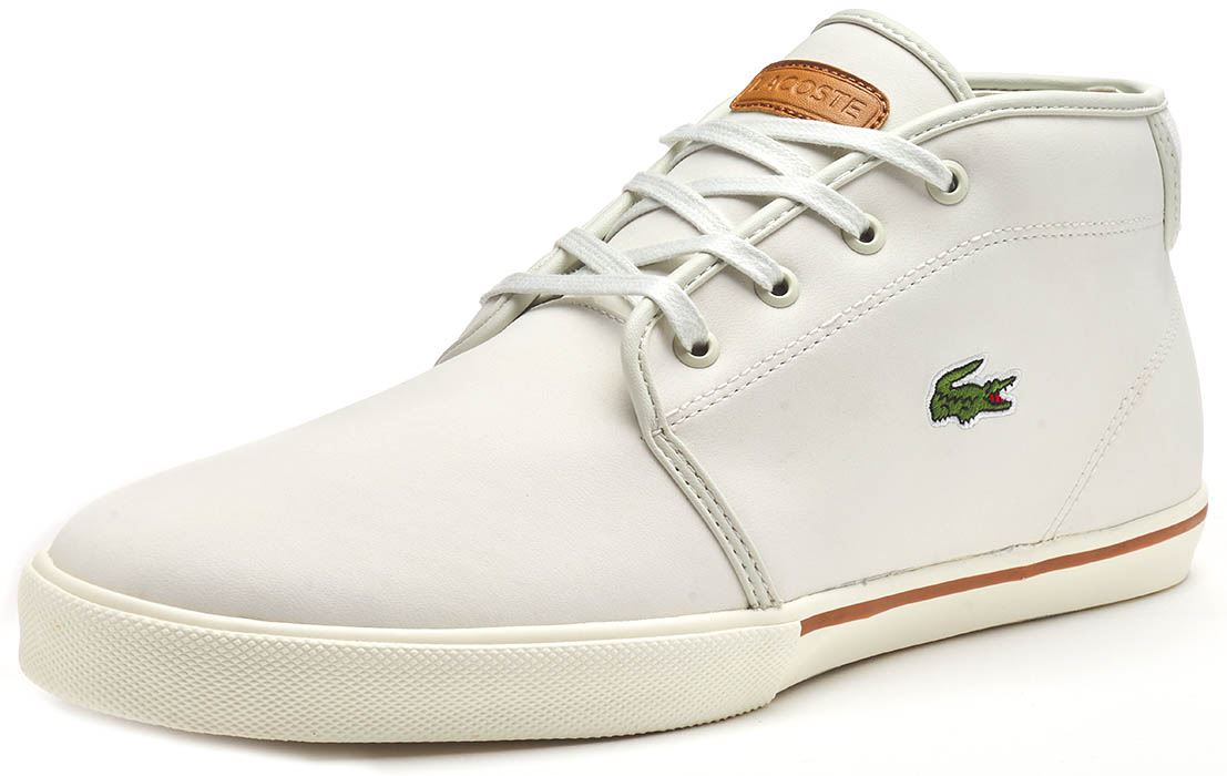 Lacoste Ampthil 119 1 CMA Chukka Boots Hi Top Trainers in Black Brown /& White